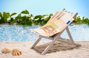 50 Euro biljetten in strandstoel